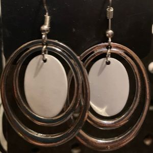 Silver and white earrings